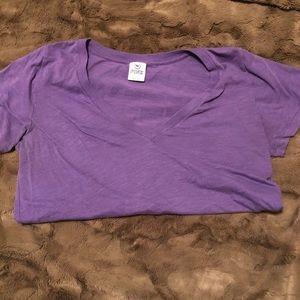 PINK purple v neck short sleeve shirt